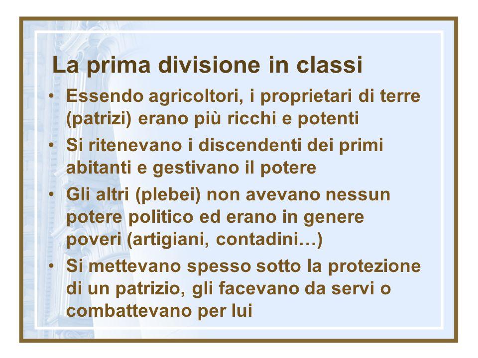 La prima divisione in classi