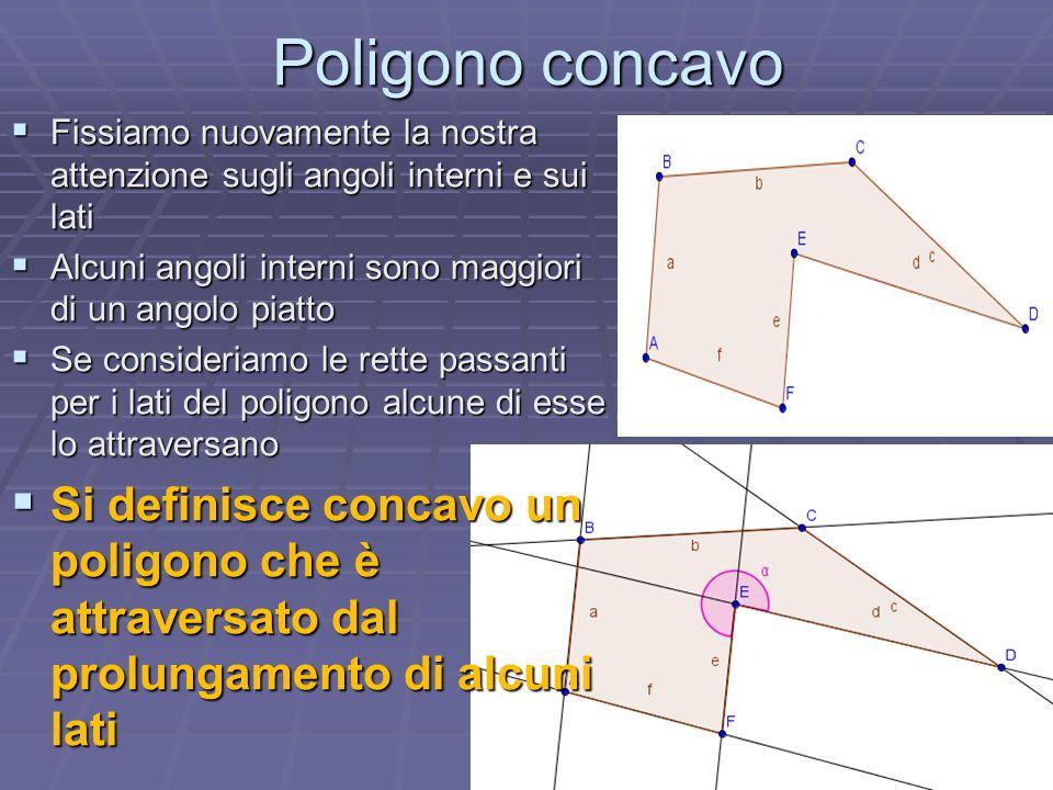 Poligono concavo Fissiamo nuovamente la nostra attenzione sugli angoli interni e sui lati. Alcuni angoli interni sono maggiori di un angolo piatto.