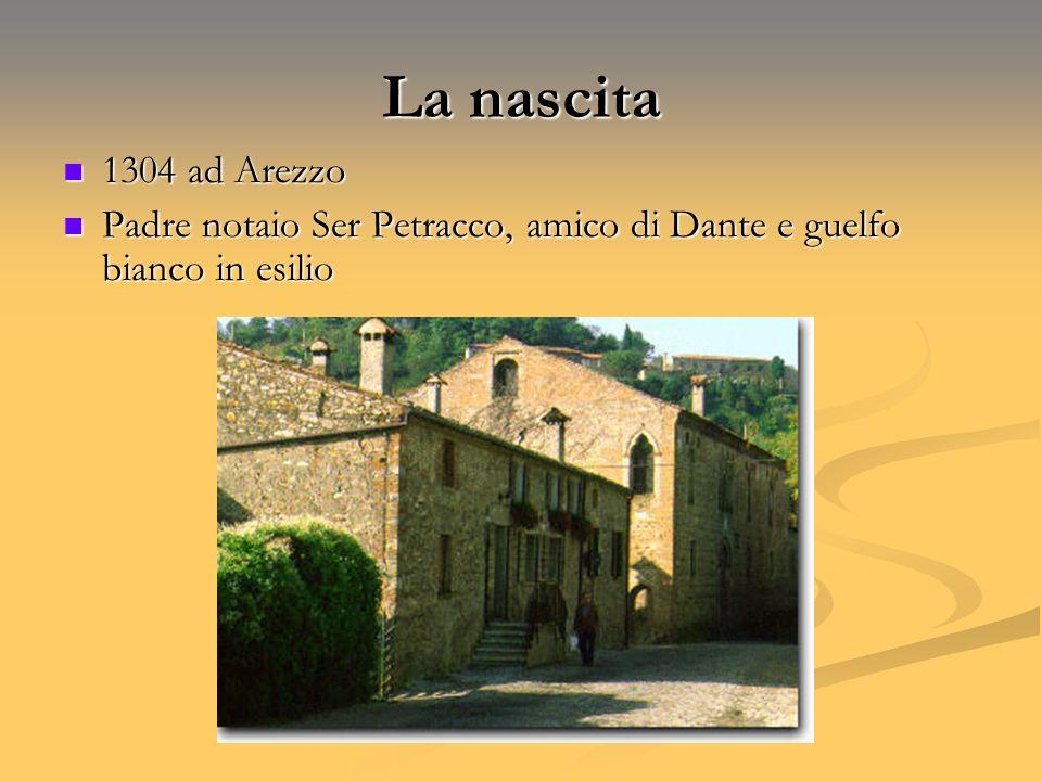 La nascita 1304 ad Arezzo Padre notaio Ser Petracco, amico di Dante e guelfo bianco in esilio
