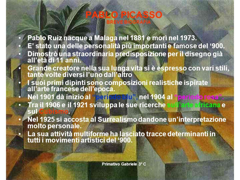 PABLO PICASSO BREVE BIOGRAFIA