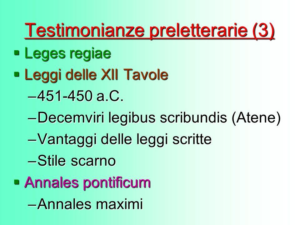 Testimonianze preletterarie (3)