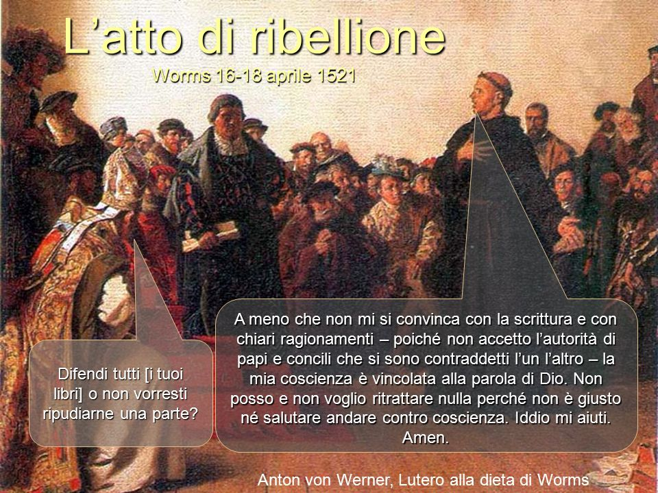 L'atto di ribellione Worms 16-18 aprile 1521