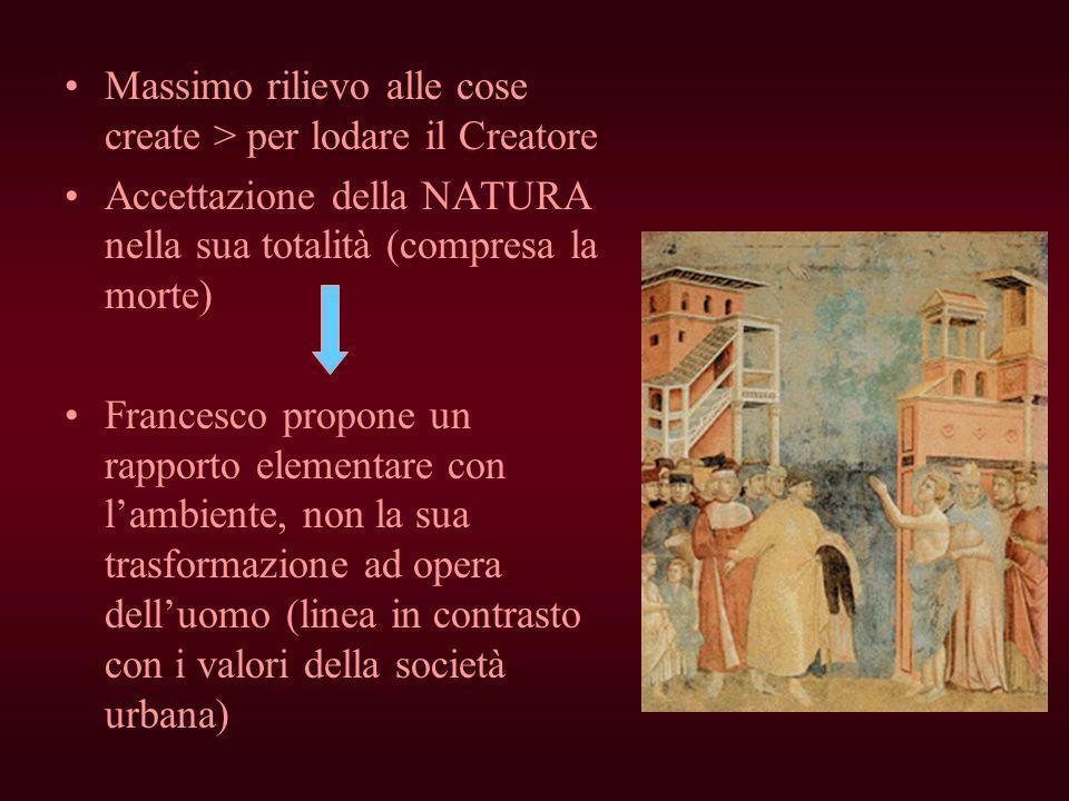 Massimo rilievo alle cose create > per lodare il Creatore