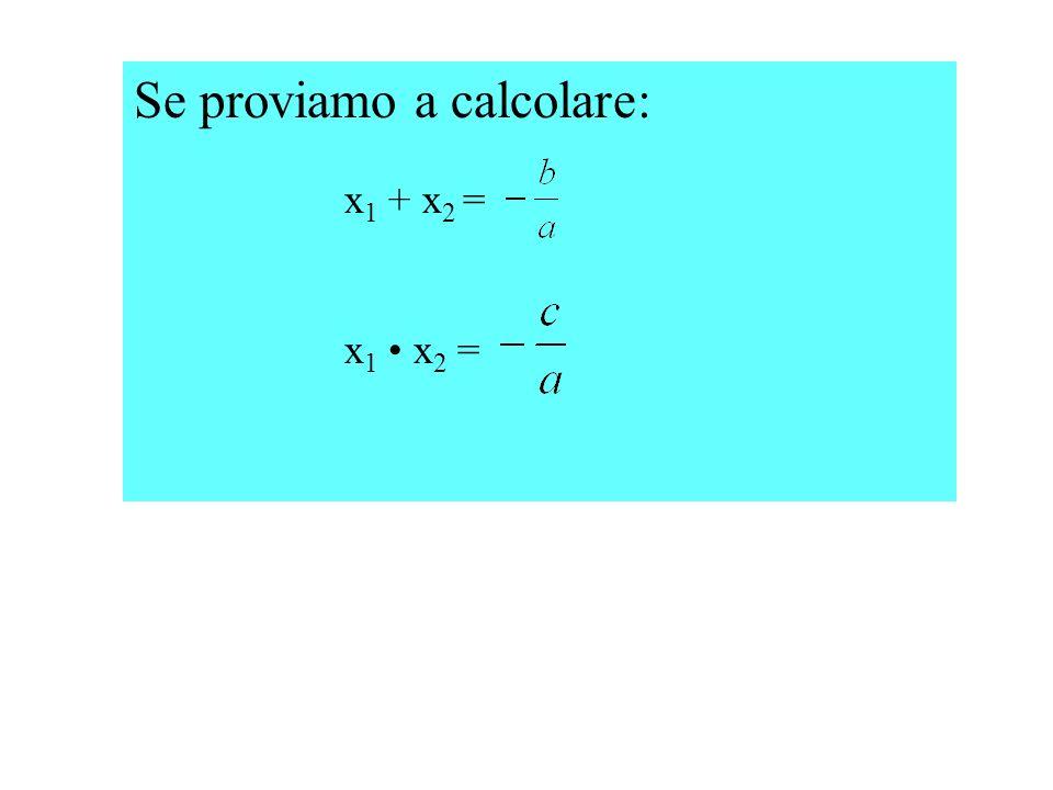 Se proviamo a calcolare: x1 + x2 =