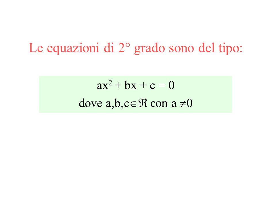 Le equazioni di 2° grado sono del tipo: