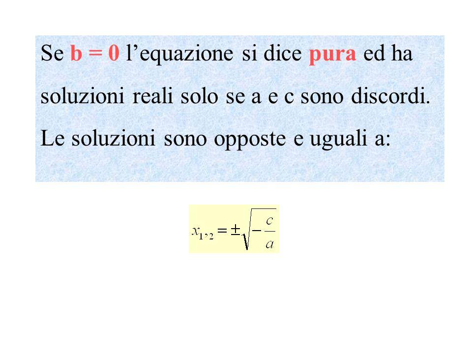 Se b = 0 l'equazione si dice pura ed ha