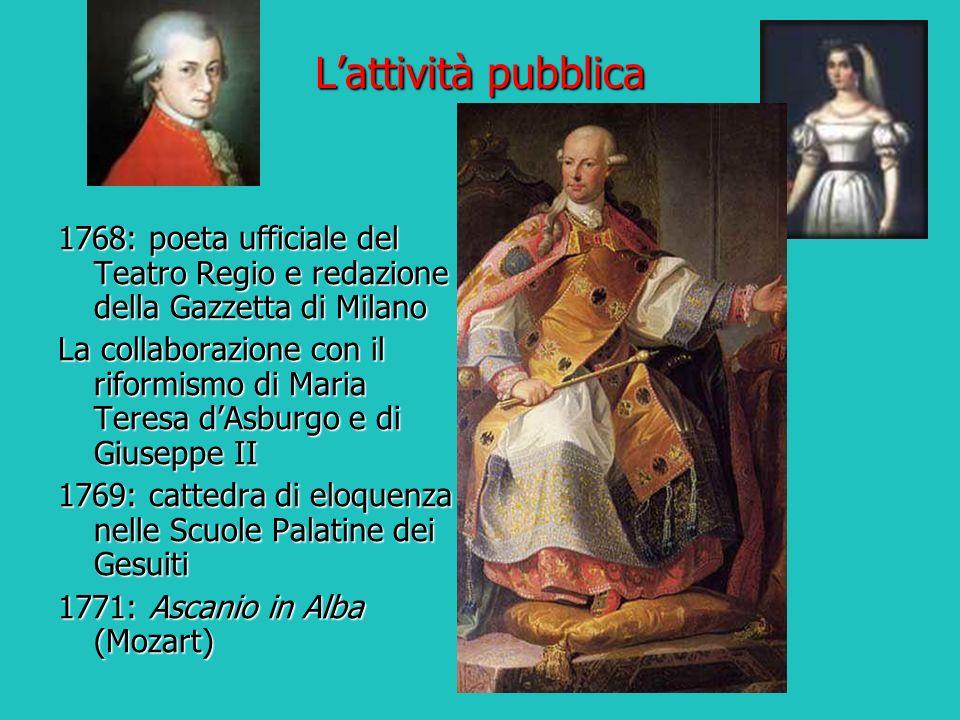 L'attività pubblica 1768: poeta ufficiale del Teatro Regio e redazione della Gazzetta di Milano.