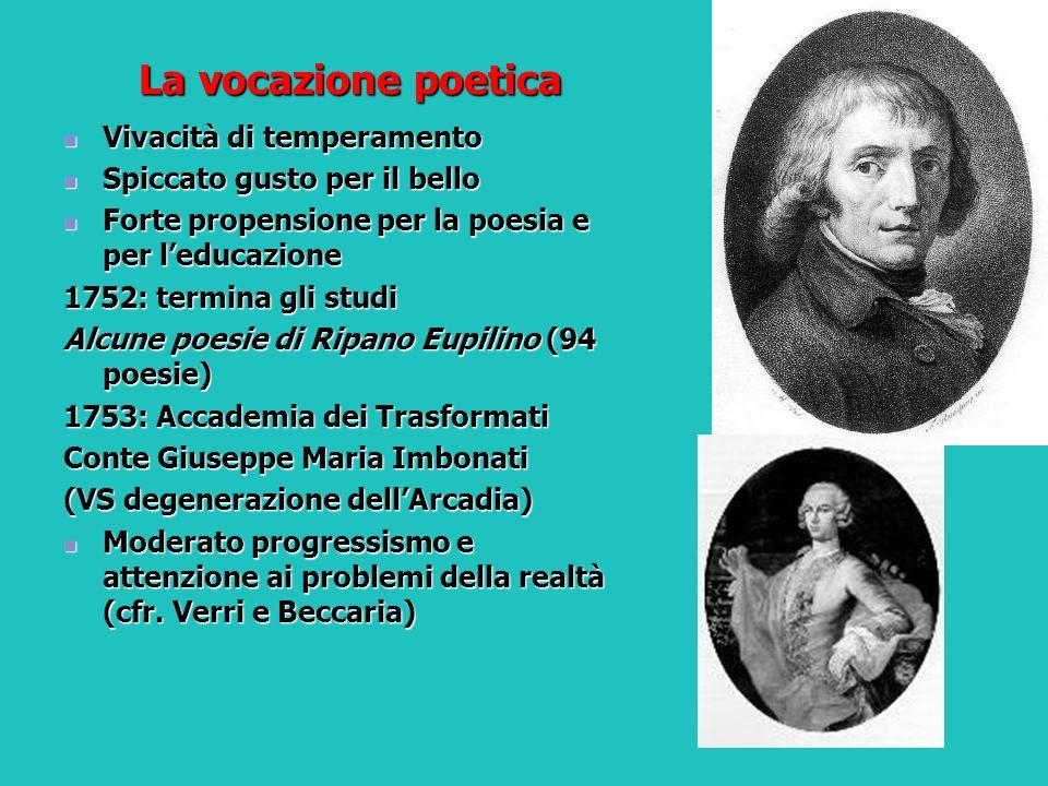 La vocazione poetica Vivacità di temperamento