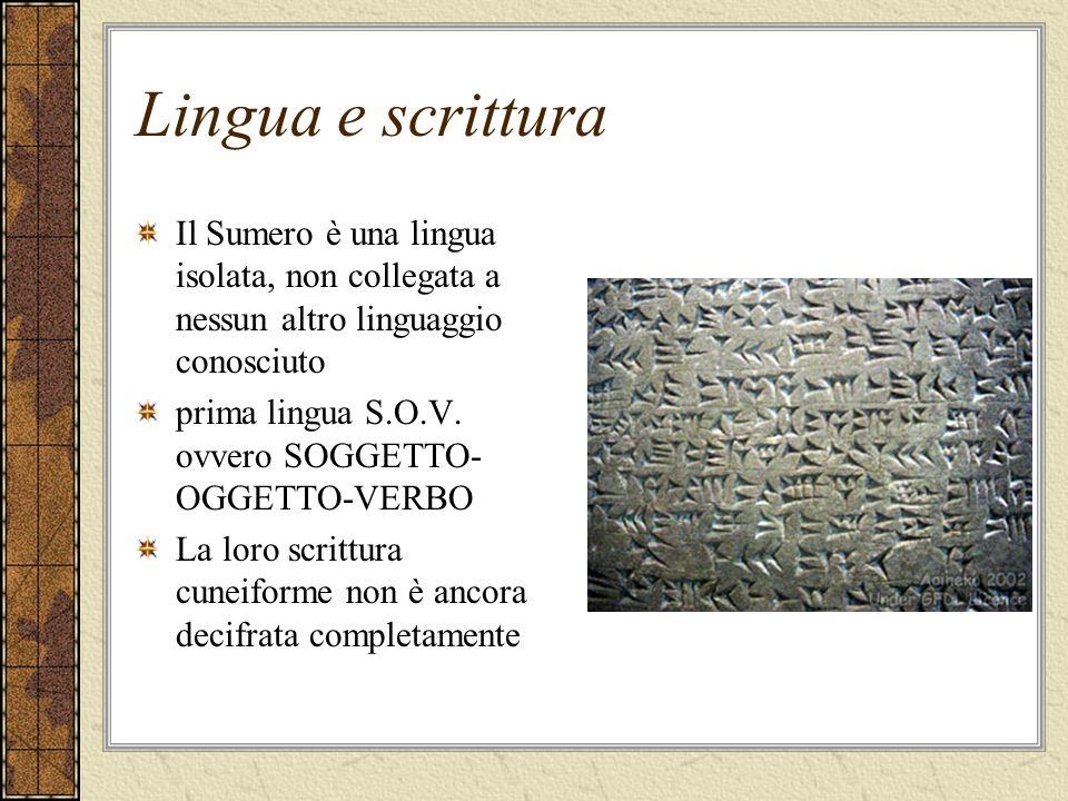 Lingua e scritturaIl Sumero è una lingua isolata, non collegata a nessun altro linguaggio conosciuto.