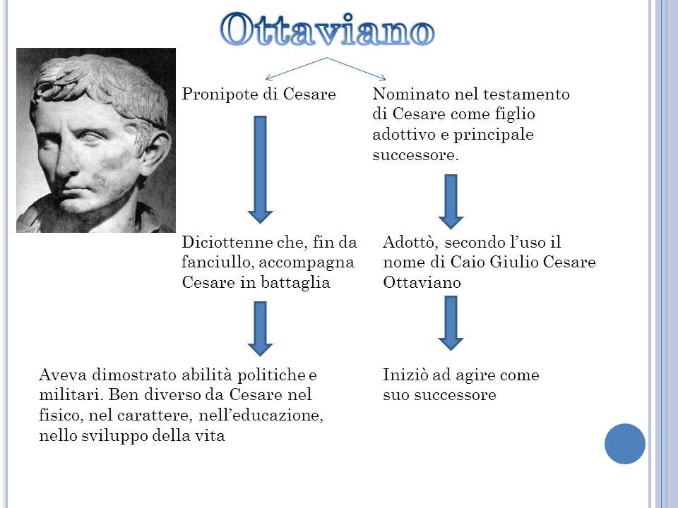 Pronipote di Cesare Nominato nel testamento di Cesare come figlio adottivo e principale successore.