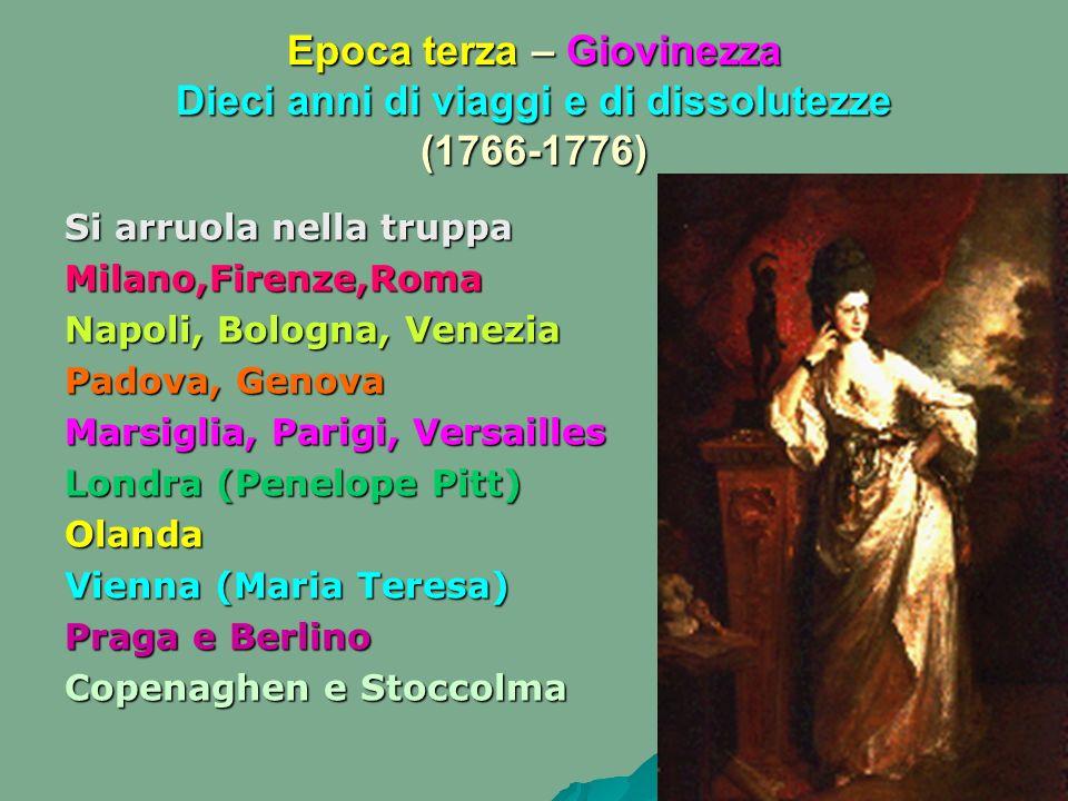 Epoca terza – Giovinezza Dieci anni di viaggi e di dissolutezze (1766-1776)