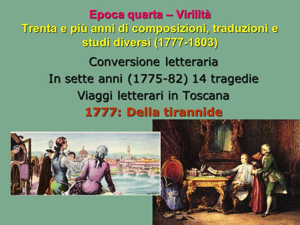 Conversione letteraria In sette anni (1775-82) 14 tragedie