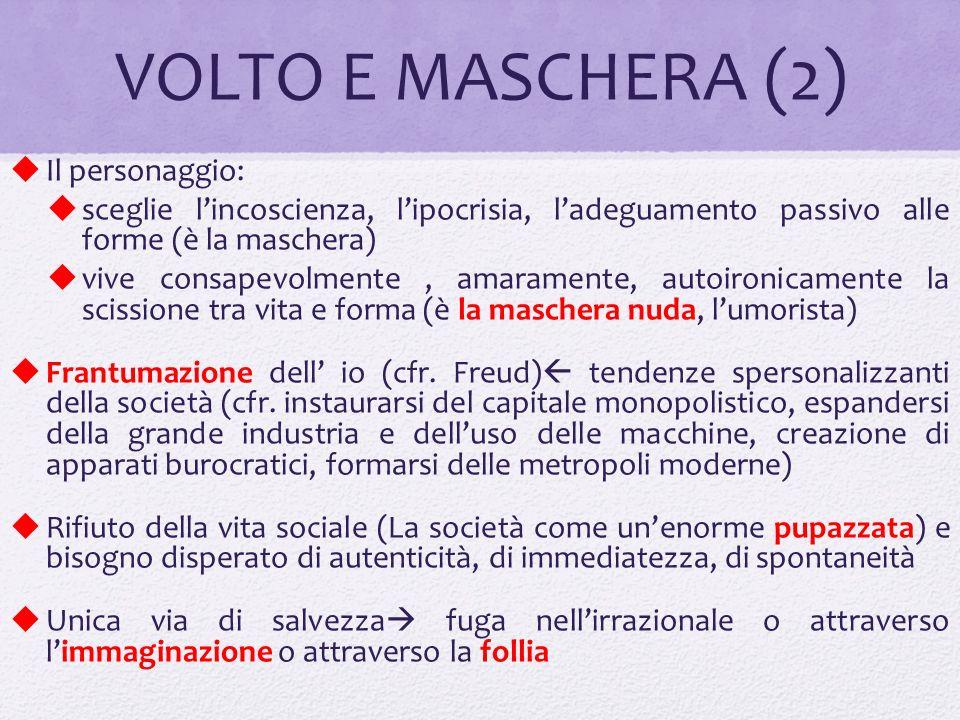 VOLTO E MASCHERA (2) Il personaggio: