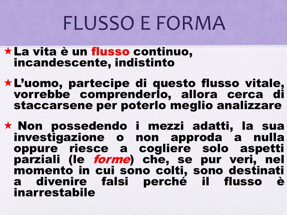 FLUSSO E FORMA La vita è un flusso continuo, incandescente, indistinto