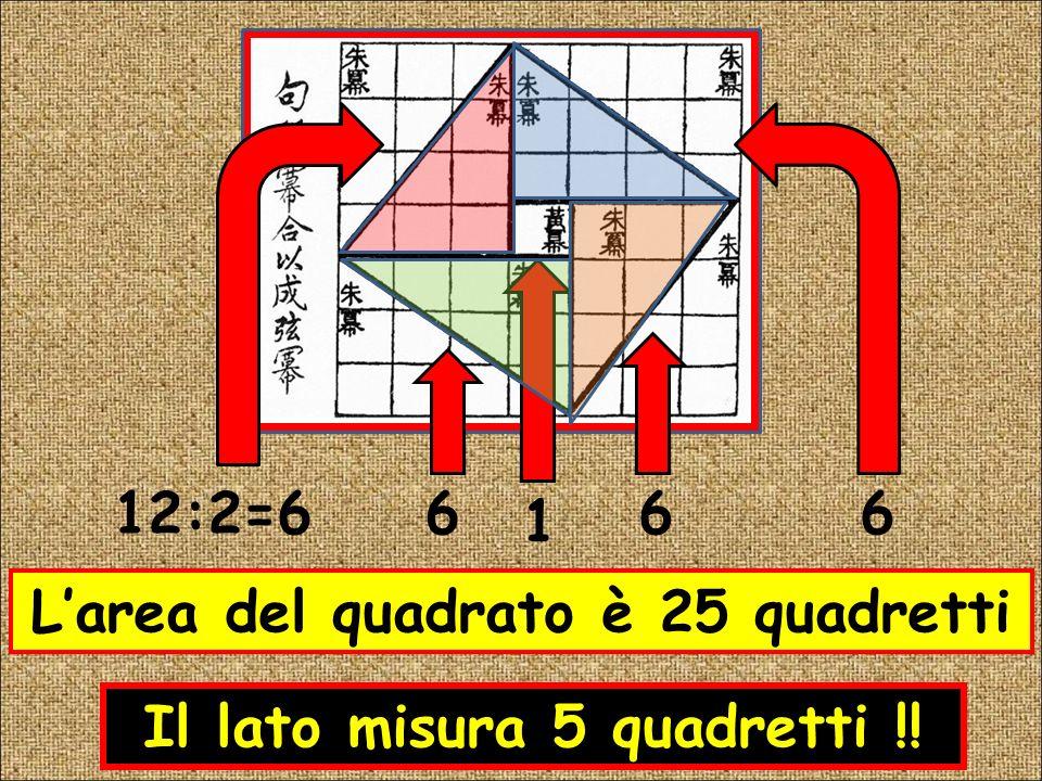 L'area del quadrato è 25 quadretti Il lato misura 5 quadretti !!