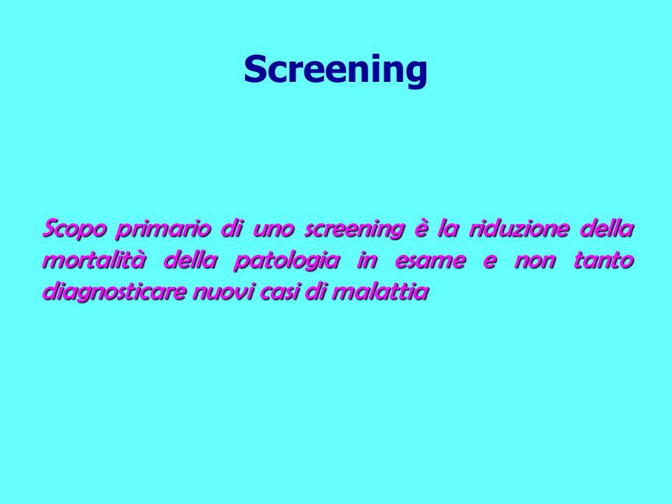 Screening Scopo primario di uno screening è la riduzione della mortalità della patologia in esame e non tanto diagnosticare nuovi casi di malattia.