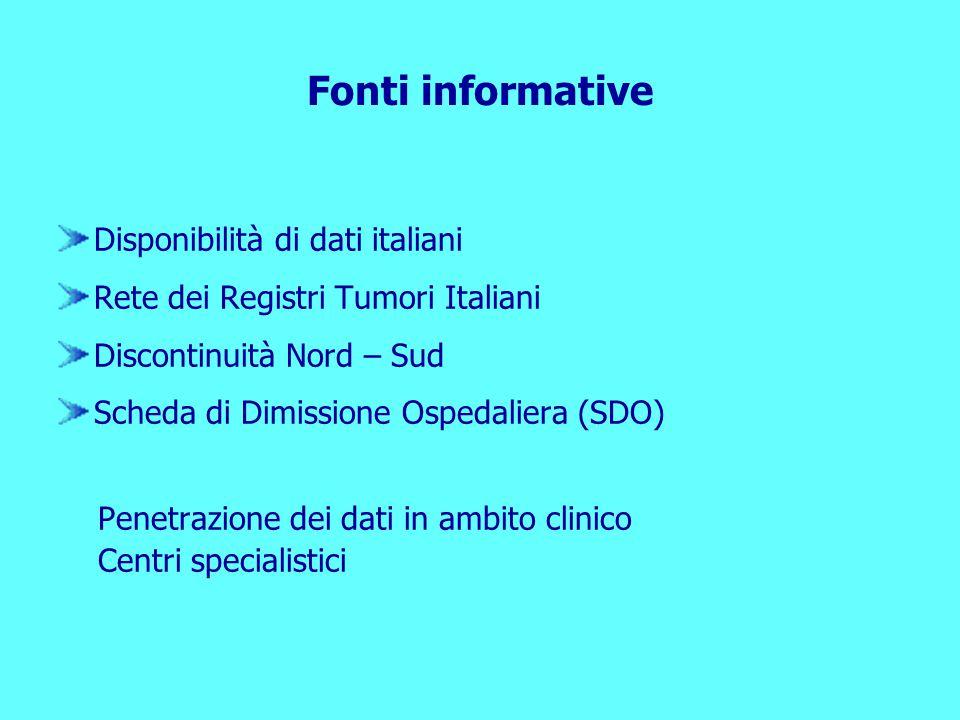 Fonti informative Disponibilità di dati italiani