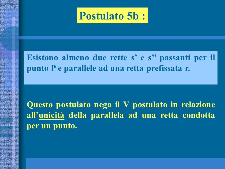 Postulato 5b : Esistono almeno due rette s' e s'' passanti per il punto P e parallele ad una retta prefissata r.