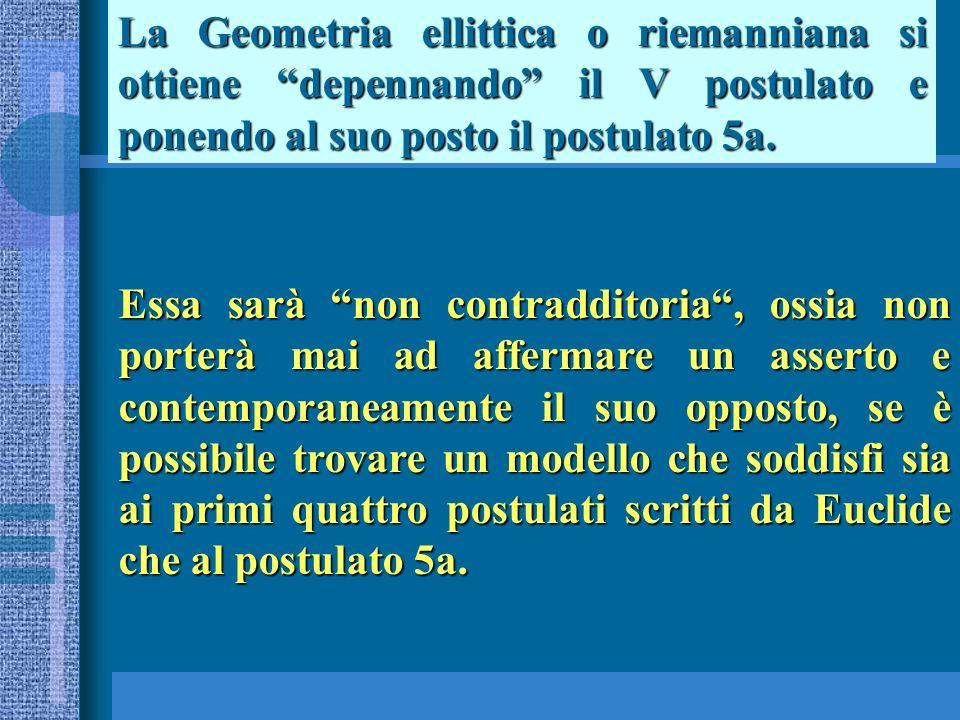 La Geometria ellittica o riemanniana si ottiene depennando il V postulato e ponendo al suo posto il postulato 5a.