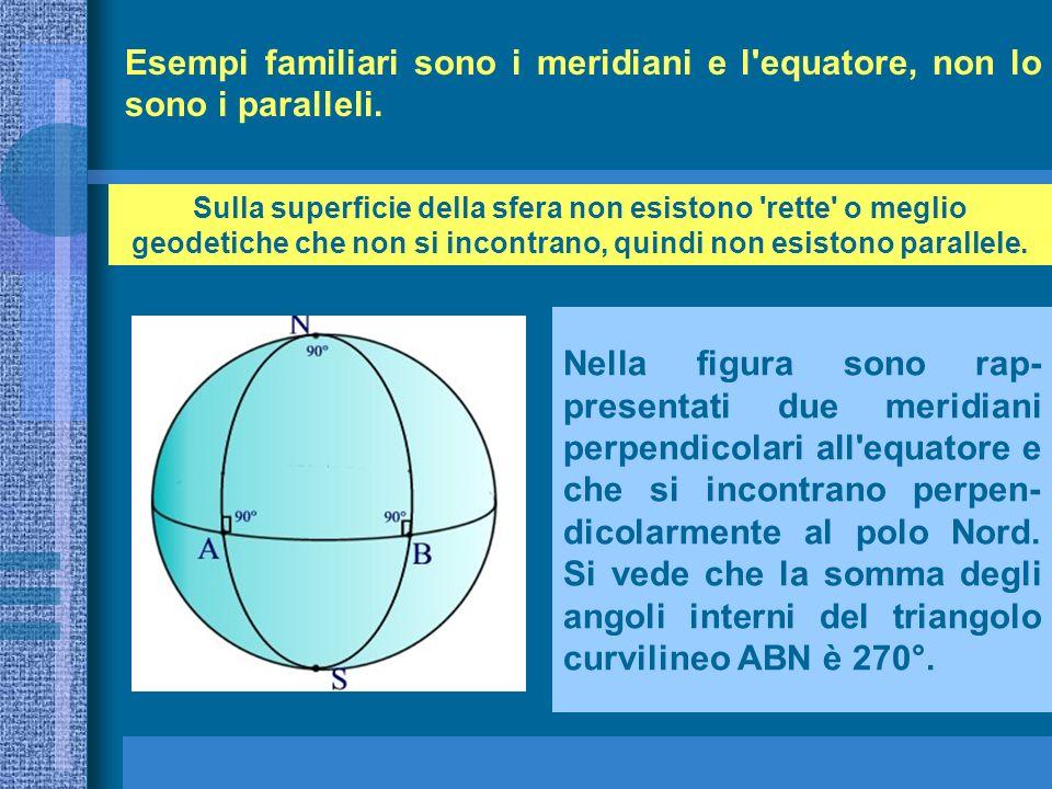 Esempi familiari sono i meridiani e l equatore, non lo sono i paralleli.