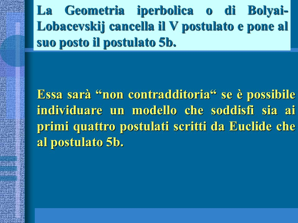 La Geometria iperbolica o di Bolyai- Lobacevskij cancella il V postulato e pone al suo posto il postulato 5b.