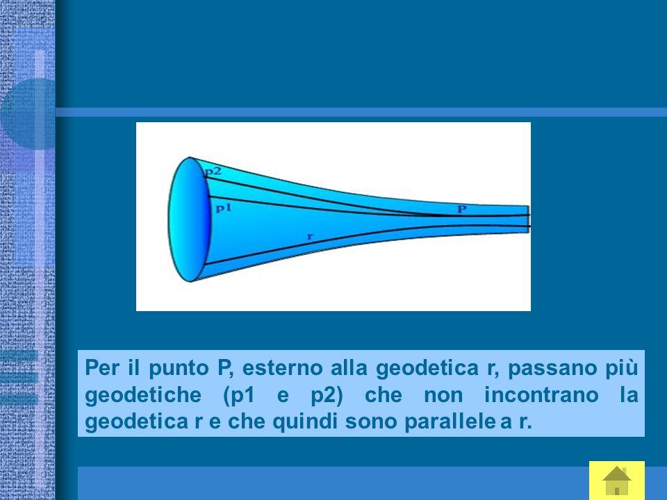 Per il punto P, esterno alla geodetica r, passano più geodetiche (p1 e p2) che non incontrano la geodetica r e che quindi sono parallele a r.