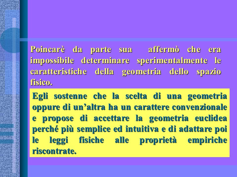 Poincarè da parte sua affermò che era impossibile determinare sperimentalmente le caratteristiche della geometria dello spazio fisico.
