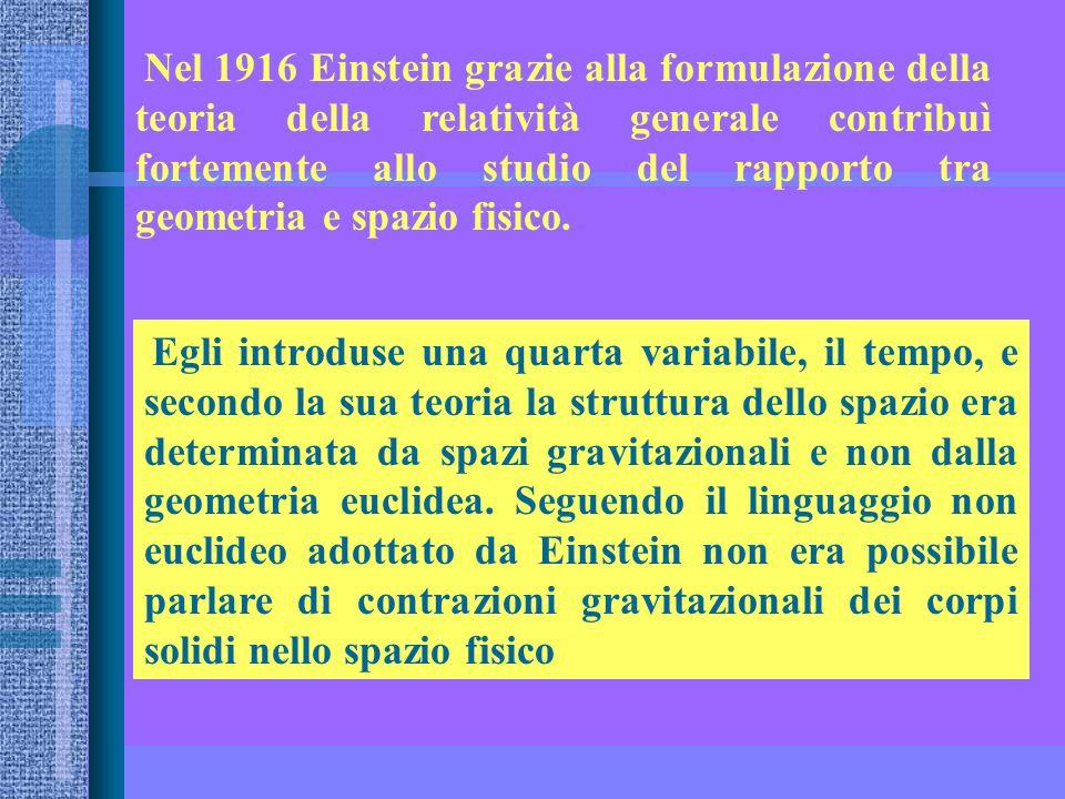 Nel 1916 Einstein grazie alla formulazione della teoria della relatività generale contribuì fortemente allo studio del rapporto tra geometria e spazio fisico.
