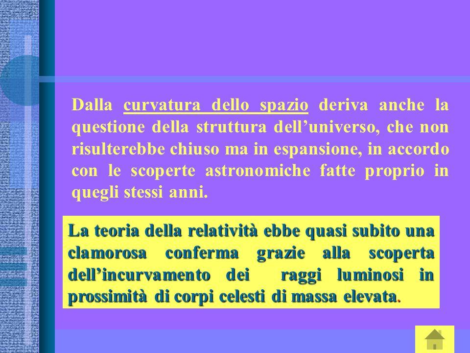Dalla curvatura dello spazio deriva anche la questione della struttura dell'universo, che non risulterebbe chiuso ma in espansione, in accordo con le scoperte astronomiche fatte proprio in quegli stessi anni.