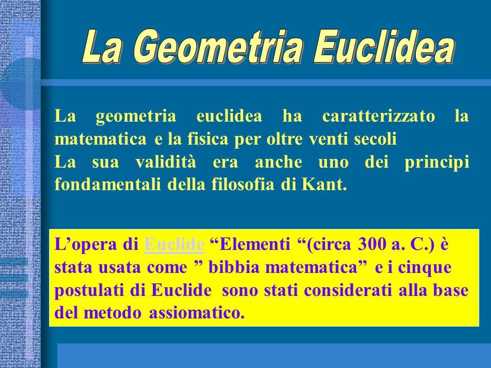 La Geometria Euclidea La geometria euclidea ha caratterizzato la matematica e la fisica per oltre venti secoli.