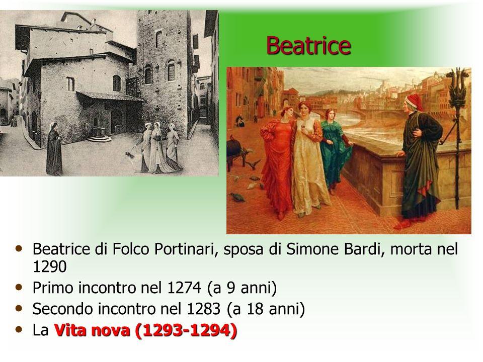 Beatrice Beatrice di Folco Portinari, sposa di Simone Bardi, morta nel 1290. Primo incontro nel 1274 (a 9 anni)