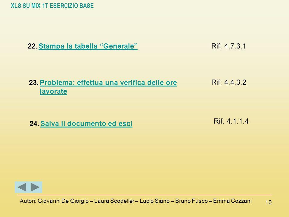 Stampa la tabella Generale Rif. 4.7.3.1