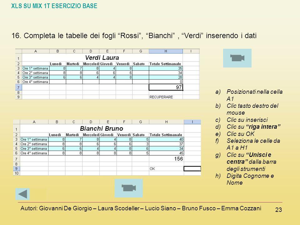 16. Completa le tabelle dei fogli Rossi , Bianchi , Verdi inserendo i dati