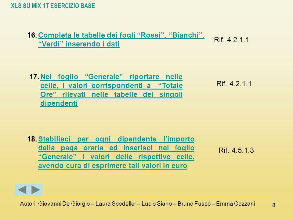 Completa le tabelle dei fogli Rossi , Bianchi , Verdi inserendo i dati