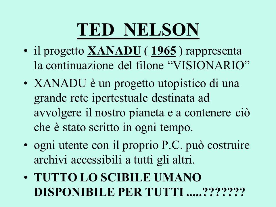 TED NELSON il progetto XANADU ( 1965 ) rappresenta la continuazione del filone VISIONARIO