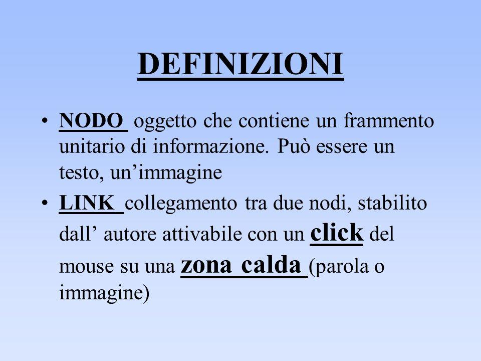 DEFINIZIONI NODO oggetto che contiene un frammento unitario di informazione. Può essere un testo, un'immagine.