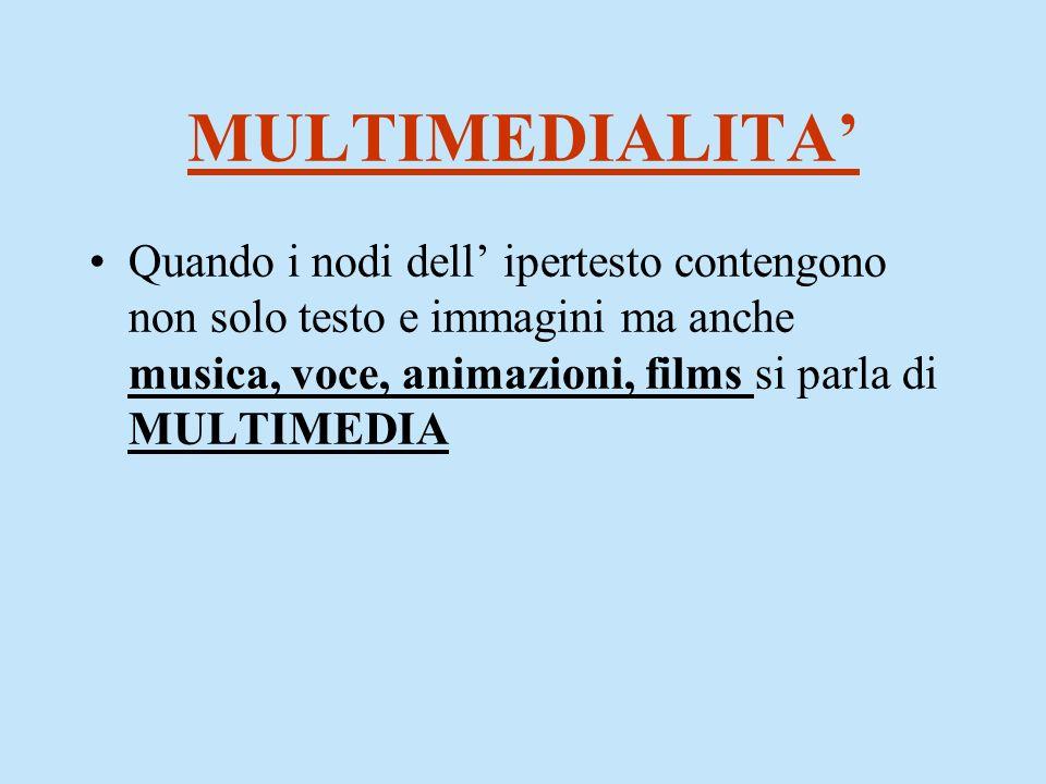 MULTIMEDIALITA' Quando i nodi dell' ipertesto contengono non solo testo e immagini ma anche musica, voce, animazioni, films si parla di MULTIMEDIA.