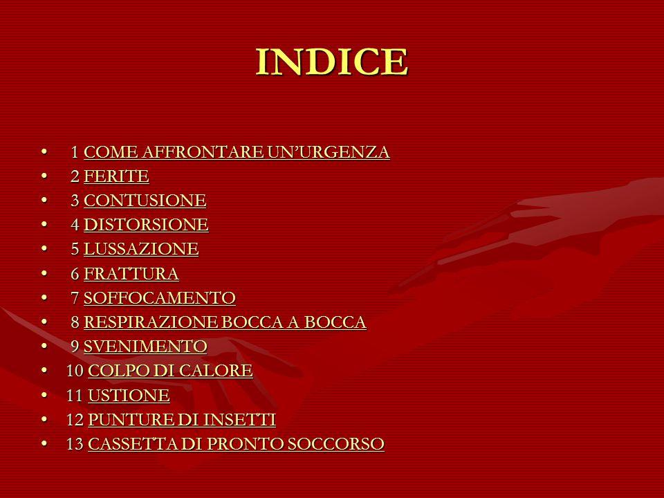 INDICE 1 COME AFFRONTARE UN'URGENZA 2 FERITE 3 CONTUSIONE