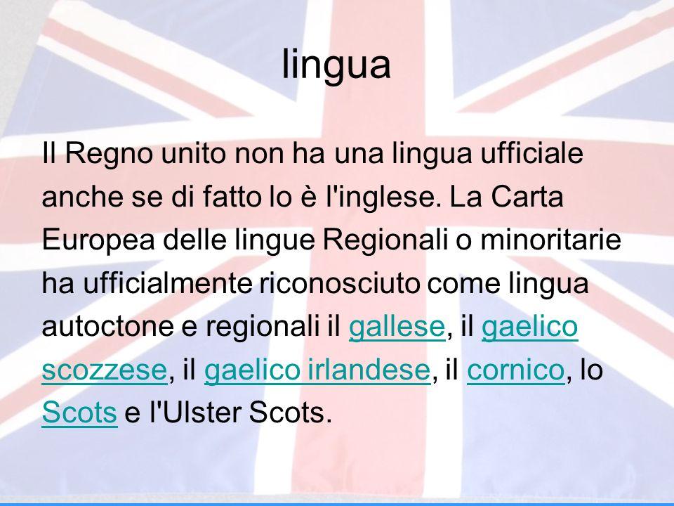 lingua Il Regno unito non ha una lingua ufficiale
