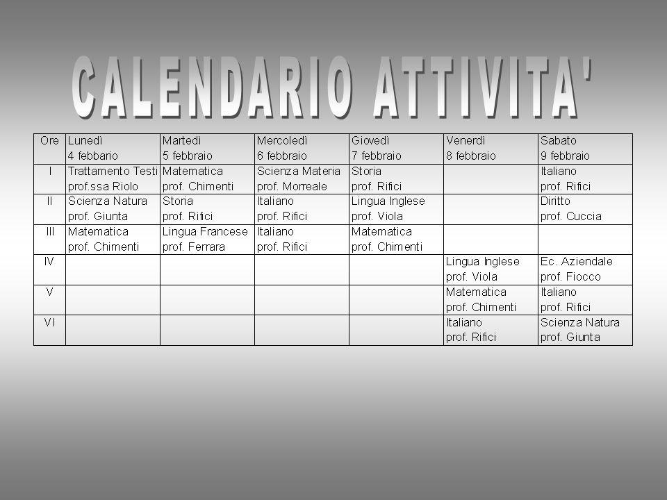 CALENDARIO ATTIVITA