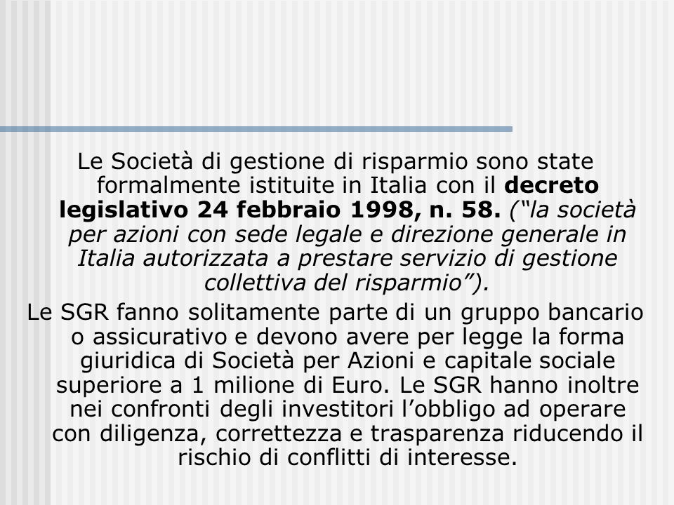 Le Società di gestione di risparmio sono state formalmente istituite in Italia con il decreto legislativo 24 febbraio 1998, n. 58. ( la società per azioni con sede legale e direzione generale in Italia autorizzata a prestare servizio di gestione collettiva del risparmio ).