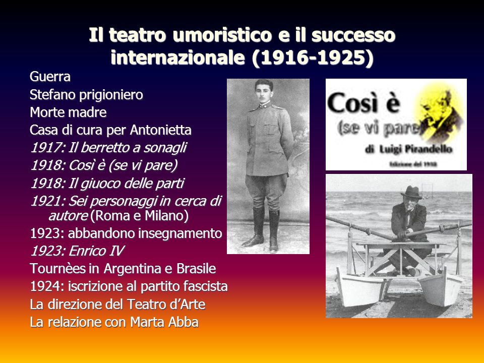 Il teatro umoristico e il successo internazionale (1916-1925)