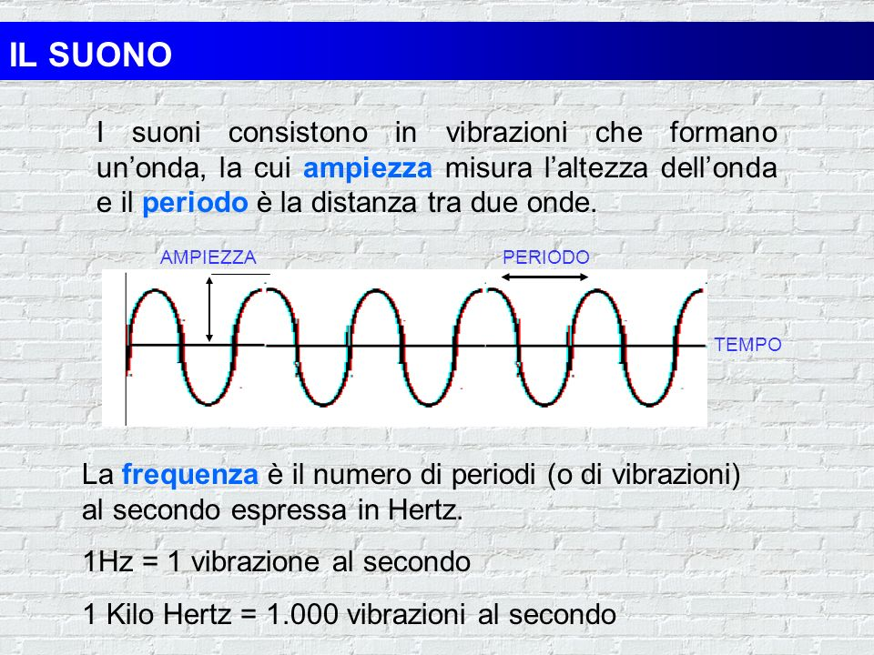 IL SUONOI suoni consistono in vibrazioni che formano un'onda, la cui ampiezza misura l'altezza dell'onda e il periodo è la distanza tra due onde.