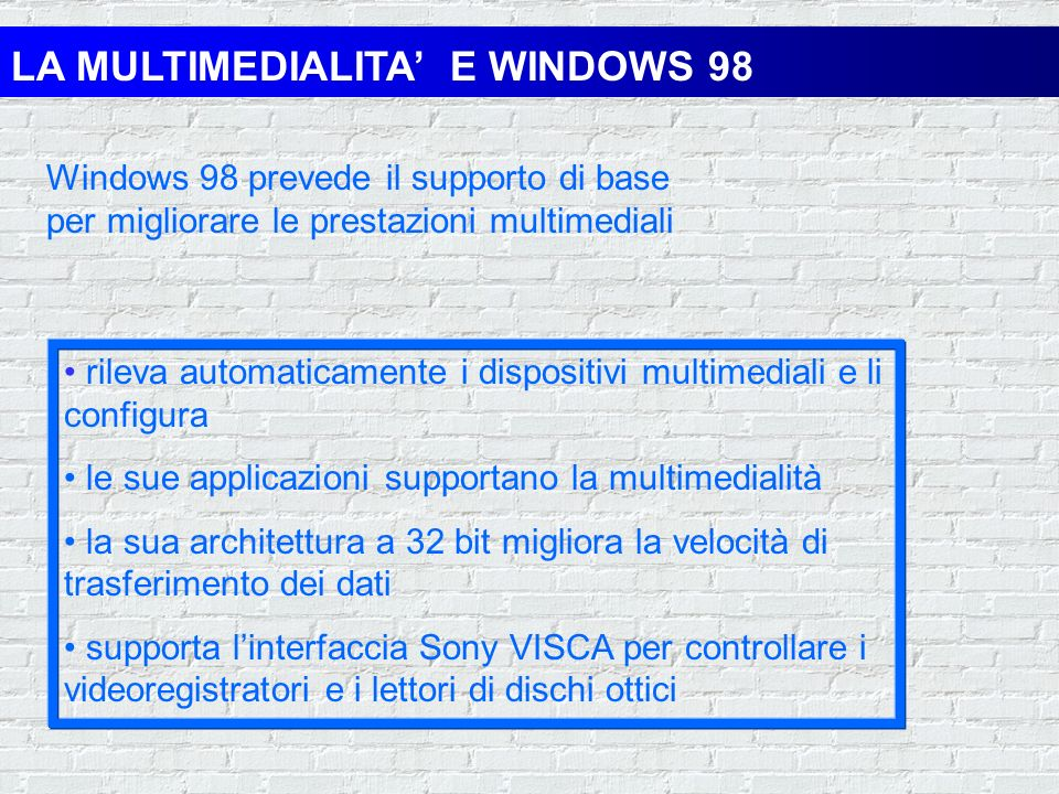 LA MULTIMEDIALITA' E WINDOWS 98
