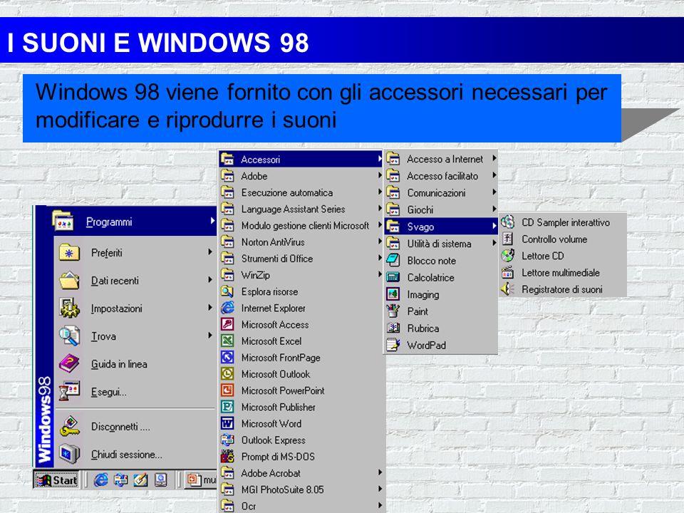 I SUONI E WINDOWS 98 Windows 98 viene fornito con gli accessori necessari per modificare e riprodurre i suoni.