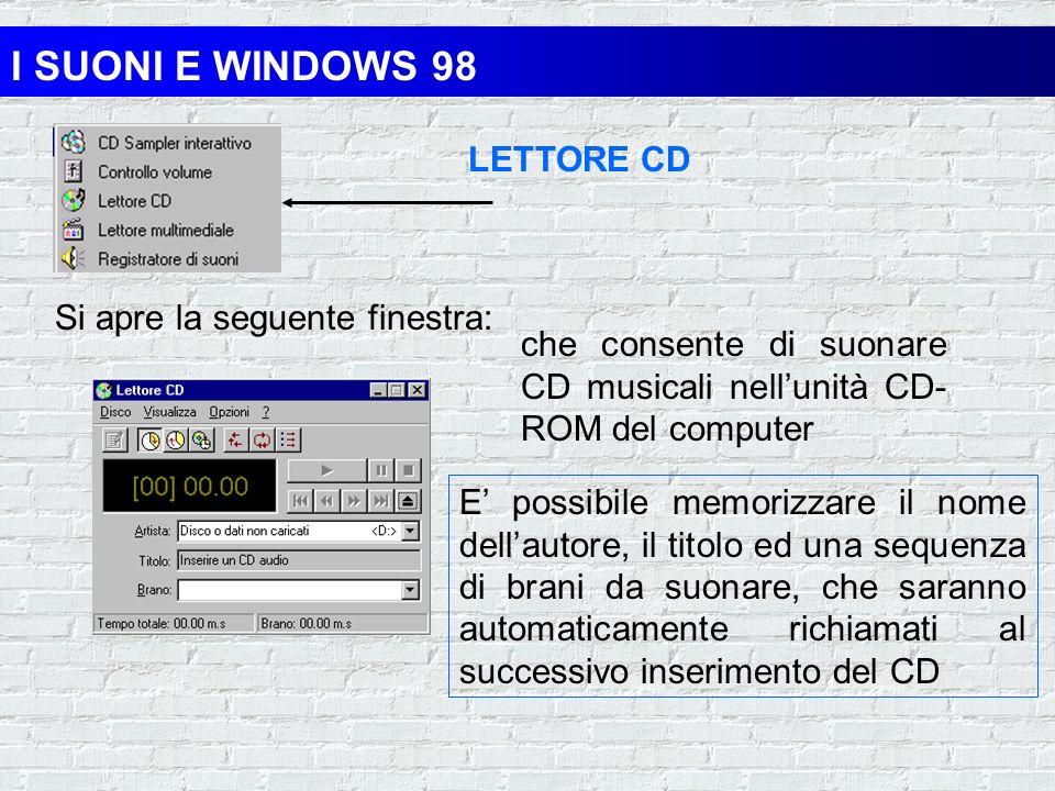 I SUONI E WINDOWS 98 LETTORE CD Si apre la seguente finestra: