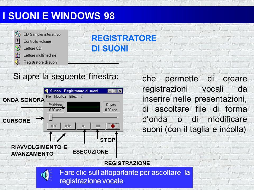 I SUONI E WINDOWS 98 REGISTRATORE DI SUONI