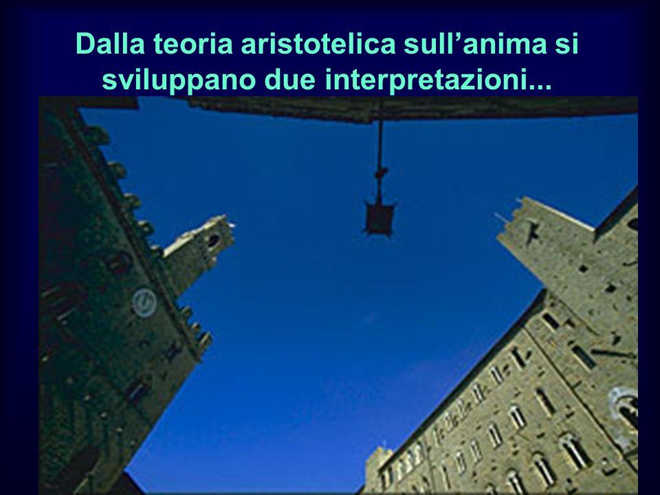 Dalla teoria aristotelica sull'anima si sviluppano due interpretazioni...