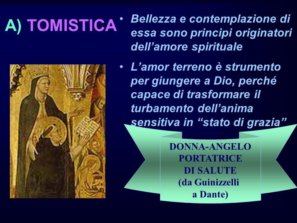 A) TOMISTICA Bellezza e contemplazione di essa sono principi originatori dell'amore spirituale.