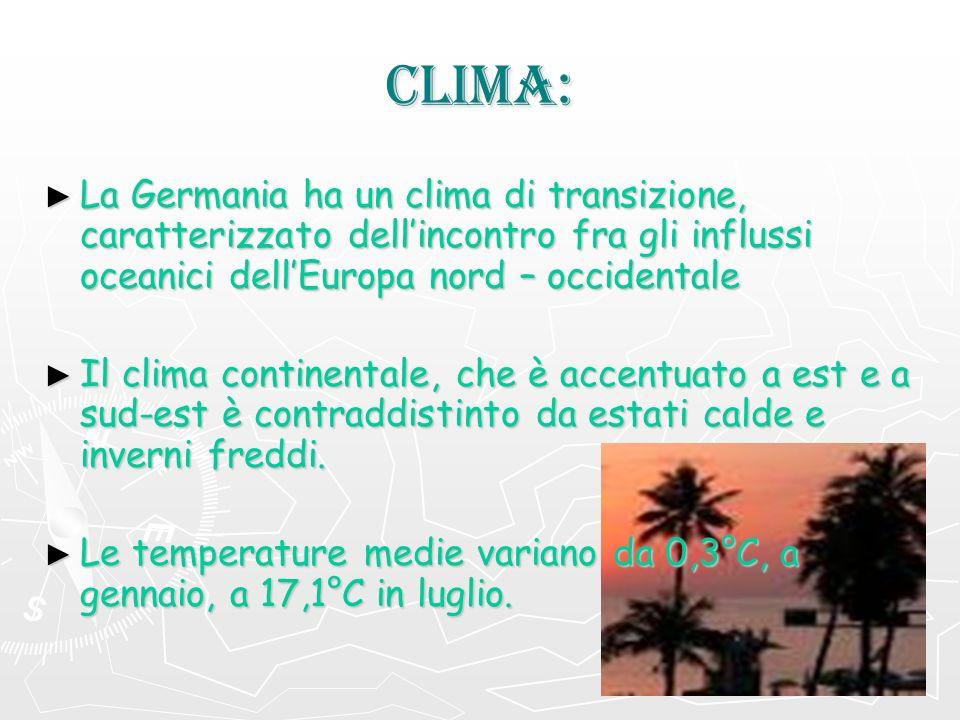 CLIMA: La Germania ha un clima di transizione, caratterizzato dell'incontro fra gli influssi oceanici dell'Europa nord – occidentale.